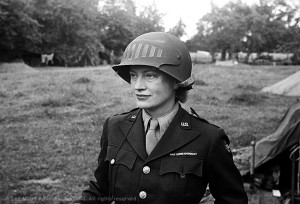 web 5848 28, Lee Miller in steel helmet specially designed for using a camera, Normandy, Unknown Photographer, 1944.jpg