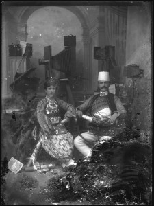 2_Kel Marubi with his wife in the studio no date silver gelatine dry process on glass C Kel Marubi   Marubi National Museum of Photography, Shkodâr.jpg
