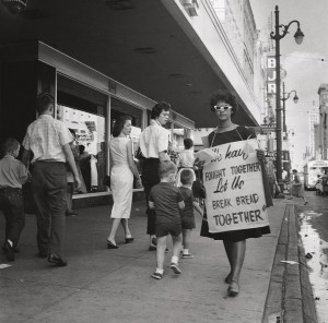 1_Junienne Briscoe, sixteen-years-old, joined the picket lines along Main Street.jpg